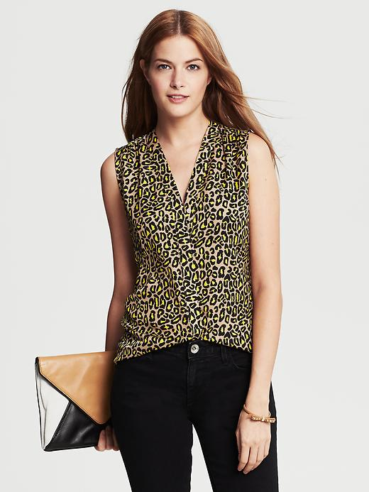 Banana Republic Animal Print Sleeveless Blouse