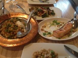 Couscous, salmon, spanakopita